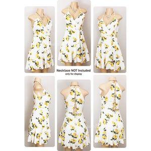 Charlotte Russe Dresses - Ivory Lemon Ruffle Wrap Lace Up Back Skater Dress